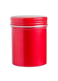 Leerer roter zylinderförmiger aluminiumbehälter lokalisiert auf weißem hintergrund. verpackung für haarkosmetik.