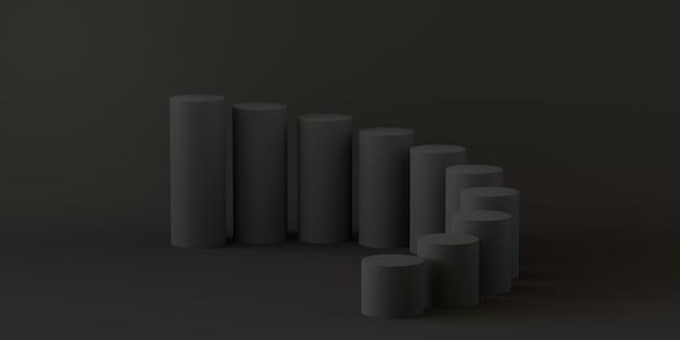 Leerer schrittzylinder auf schwarzem hintergrund. 3d-rendering.