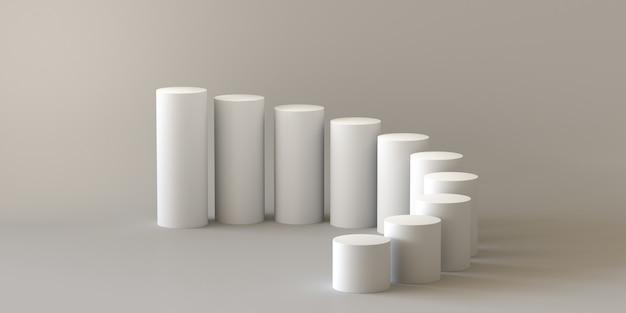 Leerer schrittzylinder auf weißem hintergrund. 3d-rendering.