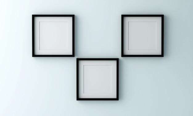 Leerer schwarzer bilderrahmen zum einfügen von text oder bild in eine hellblaue farbwand.
