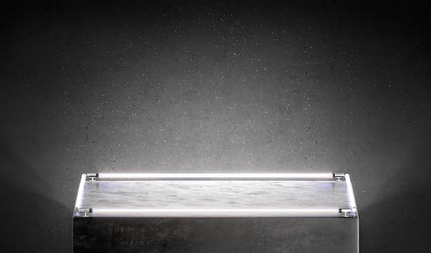 Leerer schwarzer quadratischer leuchtender sockelmodellstand in der nähe einer leeren ausstellungsbox der dunklen wand mit lampenmodell