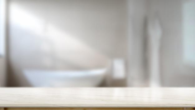 Leerer spitzenmarmortischzähler im badezimmer für produktmontage