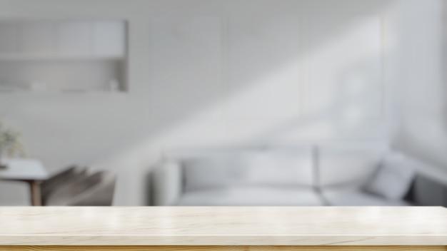 Leerer spitzenmarmortischzähler im wohnzimmer für produktmontage