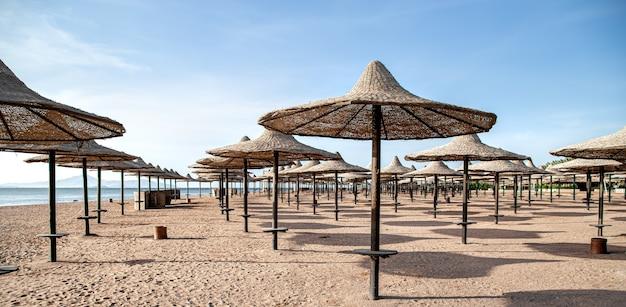 Leerer strand während einer pandemie, die lokalisierung des coronavirus. touristenkrise.