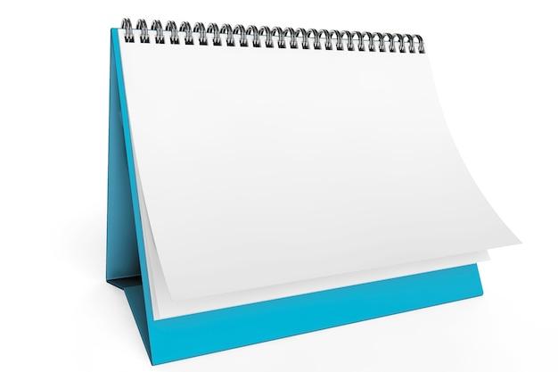 Leerer tischkalender auf weißem hintergrund