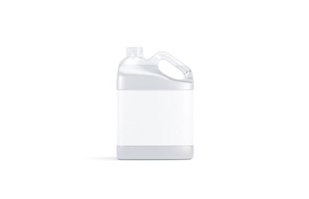 Leerer transparenter kunststoffkanister mit wasserstand isoliert, 3d-rendering. leere kanne mit etikett für getränke, vorderansicht. klares frisches aqua oder reinigungsmittel gallone