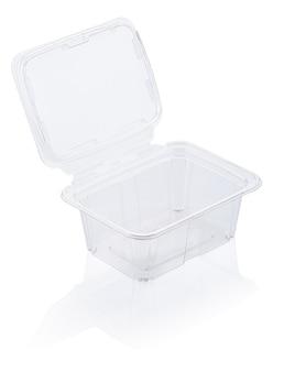 Leerer transparenter plastiklebensmittelbehälter lokalisiert auf weiß mit beschneidungspfad
