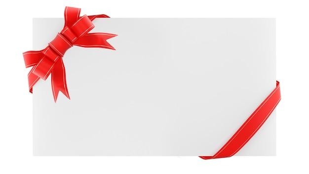 Leerer umschlag mit geschenkband. gratulationsnotiz. isoliert auf weißem hintergrund. 3d-rendering.
