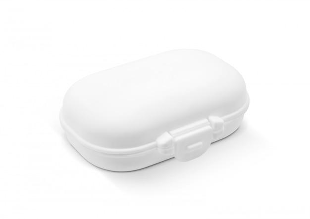 Leerer verpackender weißer plastikseifenriegelkasten lokalisiert auf weißem hintergrund
