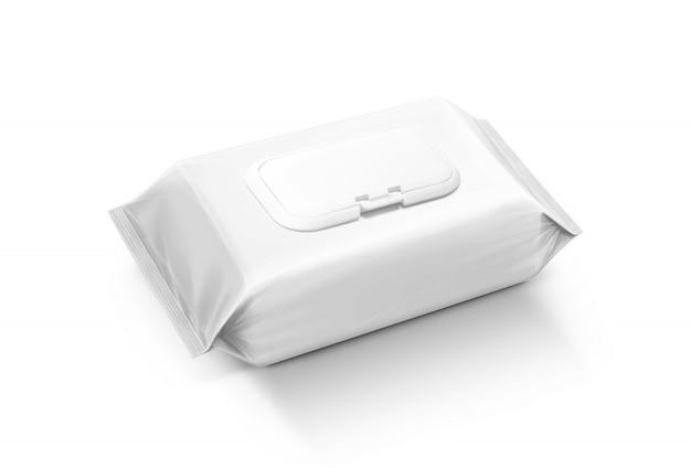 Leerer verpackungsfeuchtpflegetuchbeutel lokalisiert