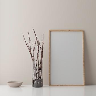 Leerer vertikaler plakatrahmen, der auf beigem boden steht. ein holzrahmen isoliert im skandinavischen interieur. 3d rendern Premium Fotos