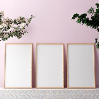 Leerer vertikaler plakatrahmen, der auf beigem boden steht Premium Fotos