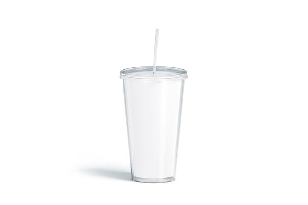 Leerer weißer acrylbecher mit strohhalm, lokalisiertes 3d-rendering. plastikkolben mit rohr leeren. klare tasse für kaffee oder bier. glas einwegflasche für kaltes getränk