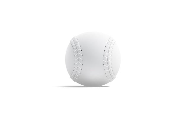 Leerer weißer baseballball mit naht, vorderansicht, 3d-darstellung.
