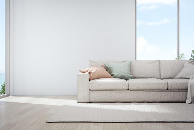 Leerer weißer betonmauerhintergrund im ferienhaus oder im ferienlandhaus.