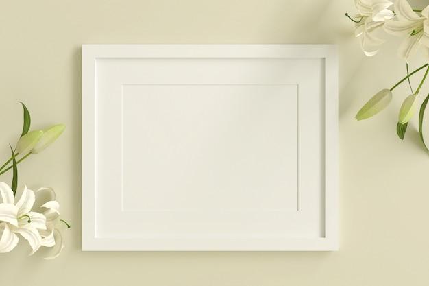 Leerer weißer bilderrahmen zum einfügen von text oder bild mit weißer blume auf gelber pastellfarbe.