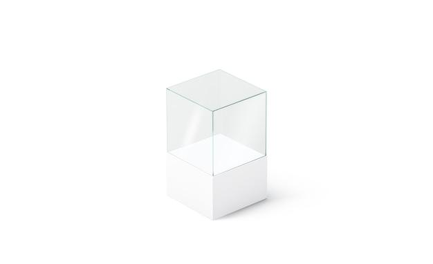 Leerer weißer glaspodestwürfel, isoliert, seitenansicht, 3d-rendering. leere acrylvitrine. klare displaybox für boutique-verkauf oder ausstellung.