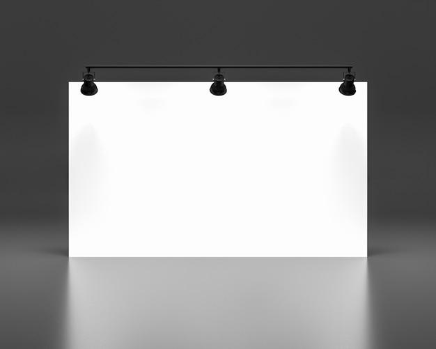 Leerer weißer hintergrund und fahnenentwurf. textil und stoff des werbebannerkonzepts oder des medienanzeigenhintergrundes. 3d rendern illustration.