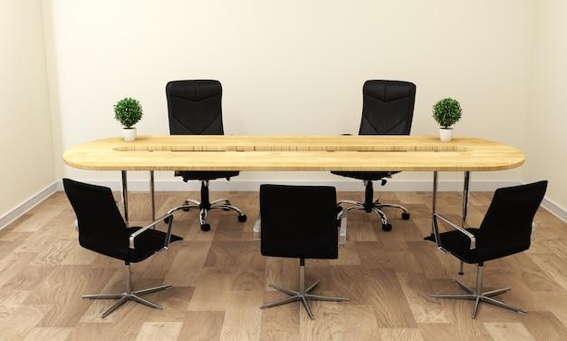 Leerer weißer konferenzzimmerinnenraum mit holzfußboden auf weißem wandhintergrund.