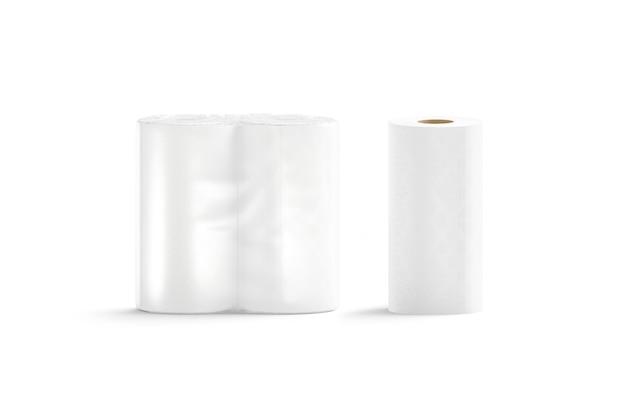 Leerer weißer papierhandtuch transparenter packständer, isoliert