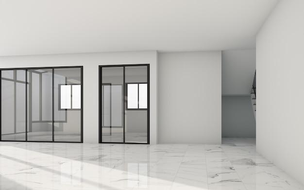 Leerer weißer raum mit fenstern und sonnenlicht und weißem steinfliesenboden. 3d-rendering Premium Fotos