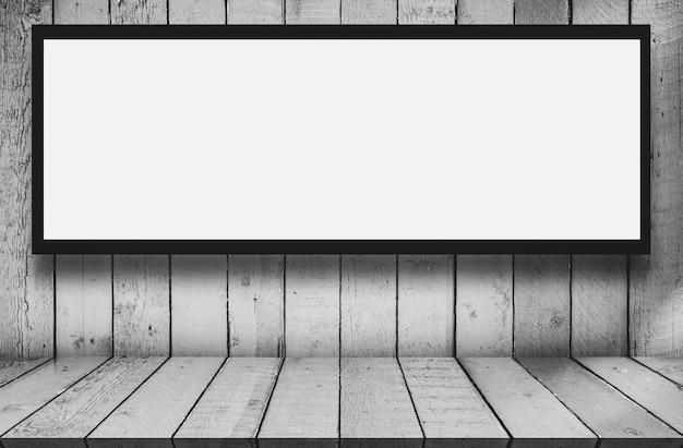 Leerer weißer spott der digitalen medien oben der werbungslichtkasten-anschlagtafel