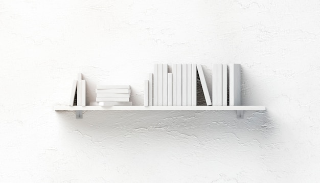 Leerer weißer stapel bücher s auf regal montiert