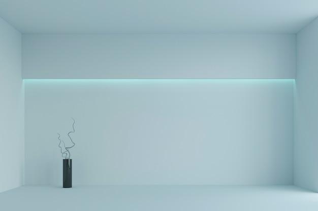 Leerer weißer unbedeutender raum mit blauer hintergrundbeleuchtung. 3d-rendering