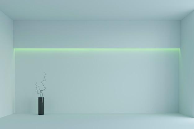 Leerer weißer unbedeutender raum mit grüner hintergrundbeleuchtung. 3d-rendering