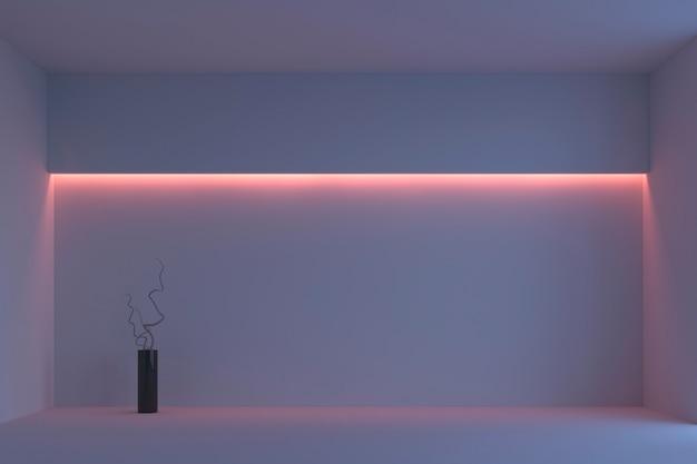 Leerer weißer unbedeutender raum mit rosa hintergrundbeleuchtung. 3d-rendering