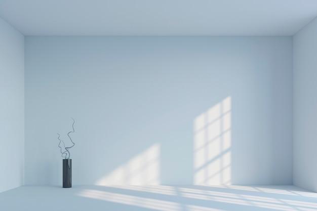 Leerer weißer unbedeutender raum und vase mit niederlassungen wiedergabe 3d