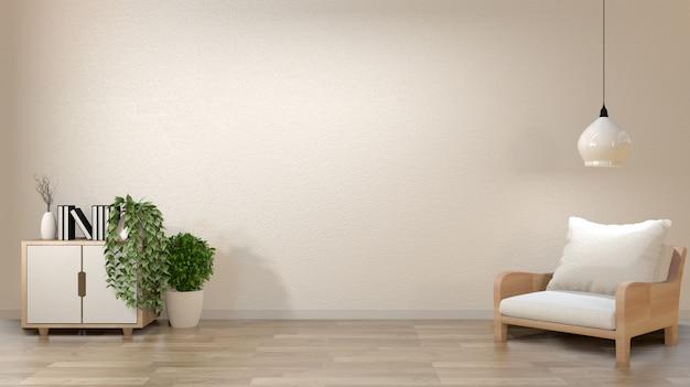 Leerer weißer wandhintergrund des zenwohnzimmers mit art der dekoration japan.