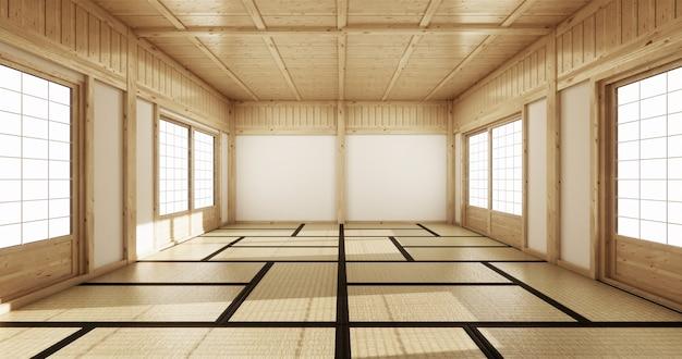 Leerer yogaraum inteior mit tatamimattenboden