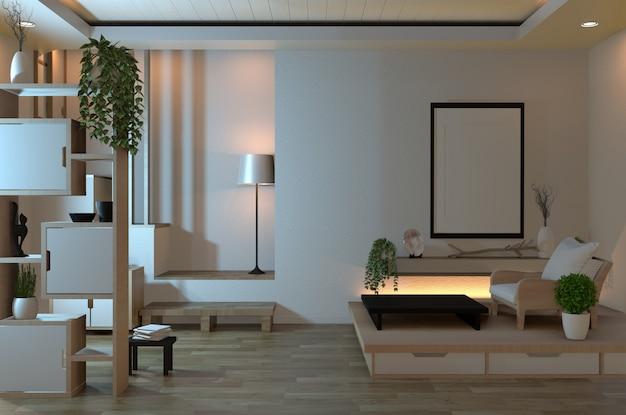 Leerer zenrauminnenraum mit verstecktem licht des designs der japanischen art der regalwand
