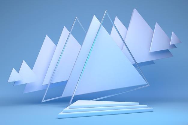 Leeres 3d-podium mit geometrischen dreiecksformen in blauer pastellkomposition für moderne bühnendarstellung und minimalistisches modellock