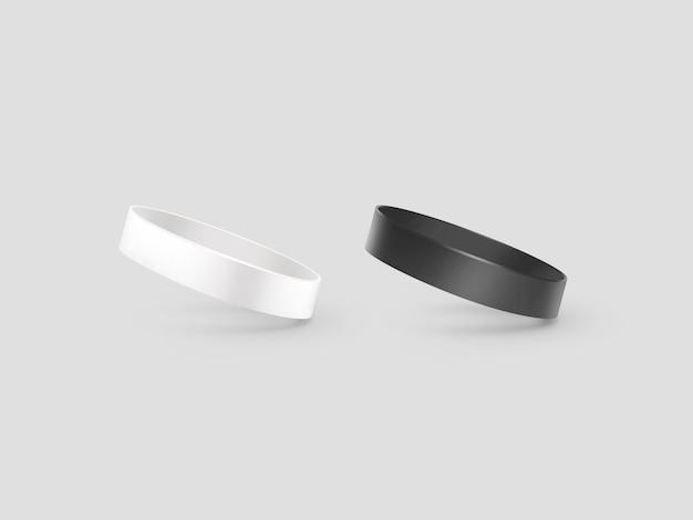 Leeres armband aus weißem und schwarzem gummi,