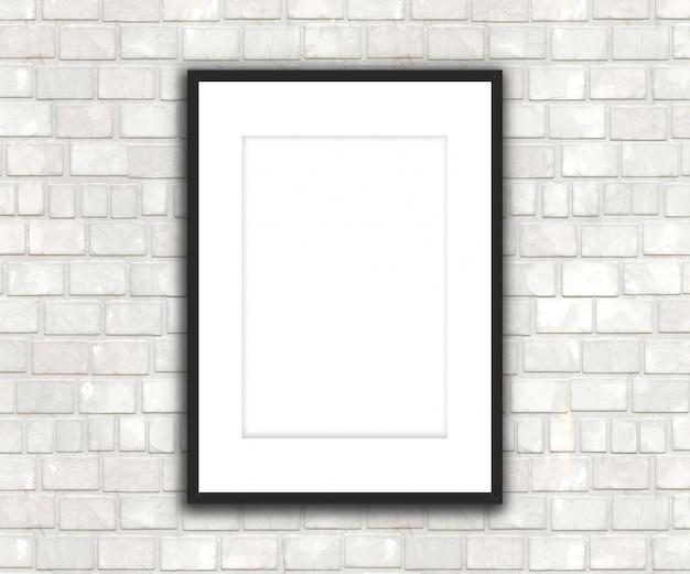Leeres bild 3d, das an einer backsteinmauer hängt