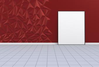 Leeres Bild in einem roten Raum, Wiedergabe 3D