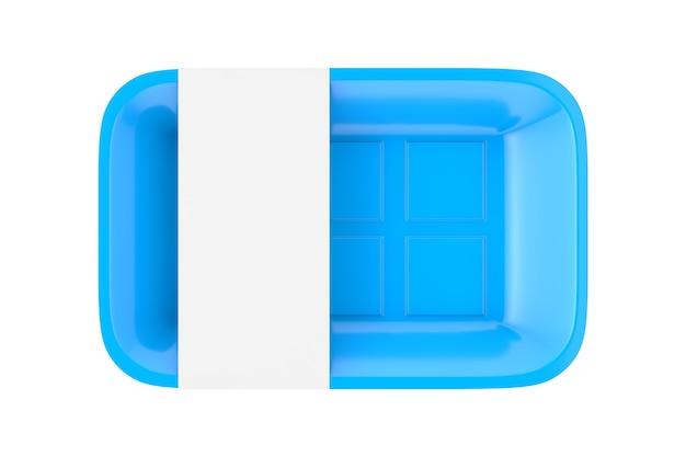 Leeres blaues plastikbehälter-tablett-paket mit leerem etikett für ihr design auf weißem hintergrund. 3d-rendering