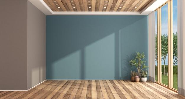 Leeres blaues und braunes wohnzimmer