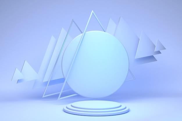 Leeres blauweißes zylinderpodest mit dreiecksrahmen auf hellem pastellhintergrund abstrakter minimaler 3d geometrischer formobjektraum für anzeige des produktdesigns 3d rendering