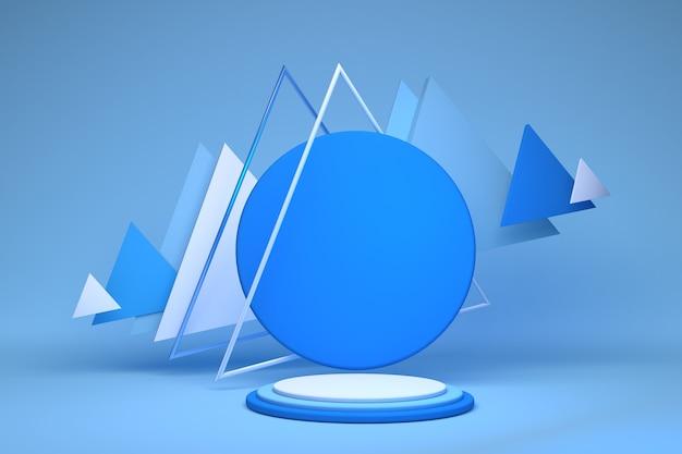 Leeres blauweißes zylinderpodest mit dreiecksrahmen auf pastellhintergrund abstrakter minimaler 3d geometrischer formobjektraum für anzeige des produktdesigns 3d rendering