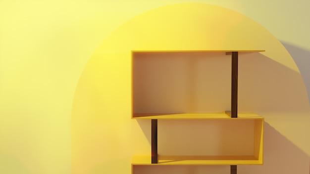 Leeres buch zum platzieren von buchholz mit lampenästhetischem hintergrund-innendesign