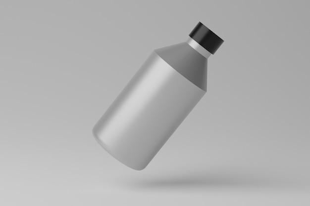 Leeres flaschenmodell der 3d-illustration auf grauem hintergrund