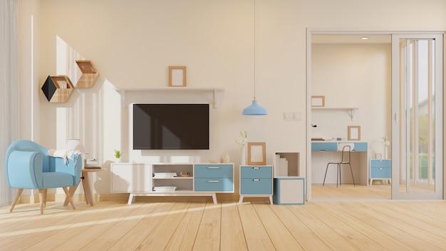 Leeres fotorahmen-wohnzimmer des innenraums mit 3d-darstellung des blauen sessels