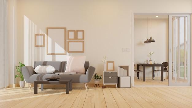 Leeres fotorahmen-wohnzimmer des innenraums mit grauer sessel-3d-darstellung