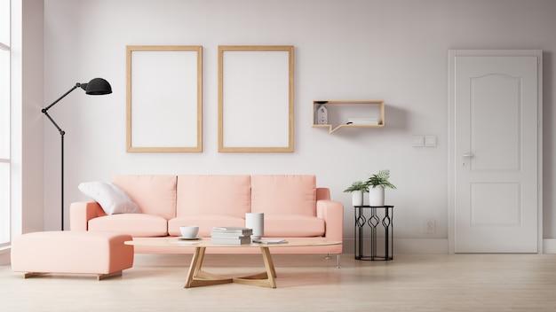 Leeres fotorahmeninnenwohnzimmer mit rosa sofa. 3d-rendering.