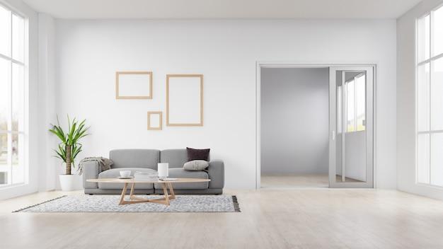 Leeres fotorahmeninnenwohnzimmer mit weißem sofa. 3d-rendering.