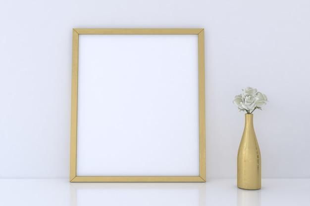 Leeres fotorahmenmodell mit goldener vase