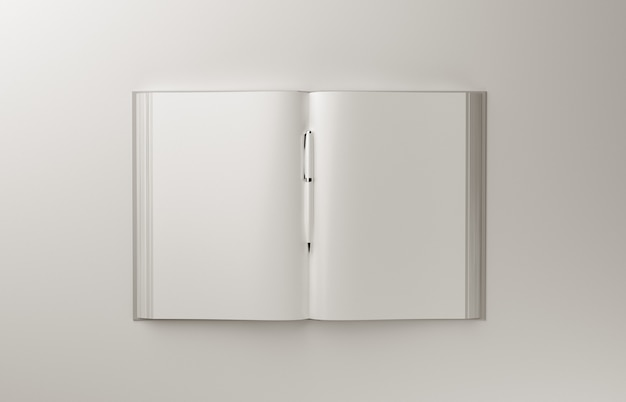 Leeres fotorealistisches buch a4 auf hellgrauem hintergrund, 3d-illustration.